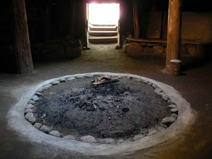 Interior of a Sinixt pithouse in the Slocan Valley