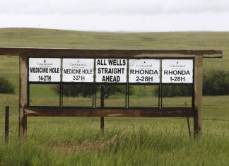 Oil Well signs need Killdeer Mountain
