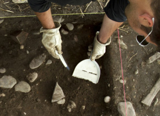A team member works inside his excavation grid. Photo by Kelsey Jae Wardwell/Missoulian
