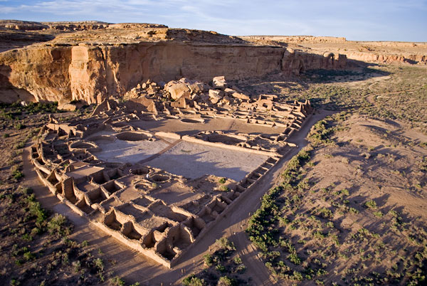 Aeial view of Pueblo Bonito, Chaco Canyon, Not licensed for use in commercial settings