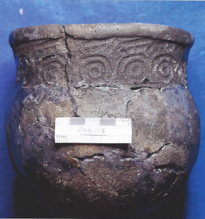 A reconstructed pot recovered from a Swift Creek burial mound.