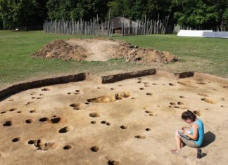Under 2 feet of topsoil, the archaeology team found stained soil circles – post holes from long-gone buildings and from disposal pits. COURTESY OF TONY BOUDREAUX