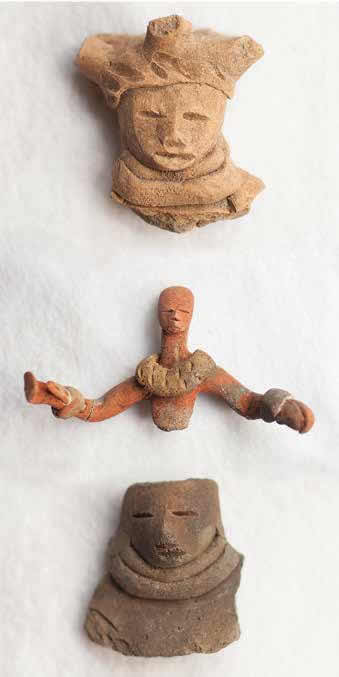 These ceramic figurines were recovered from the site.