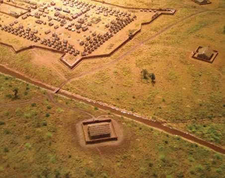 Blockhouse 8 is seen in the foreground of this scale model of Fort Greenville.