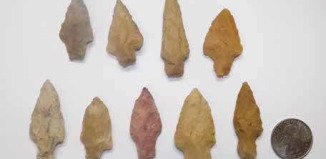 These Late Woodland stemmed points were found in the fields around both mounds of Sally Warren Mounds.