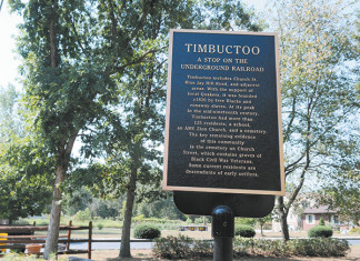 A sign for the Timbuctoo site, pictured Sept. 9, 2010, can be found at the intersection of Church and Rancocas roads. (Sarah J. Glover / Pillidelphia News Photographer)