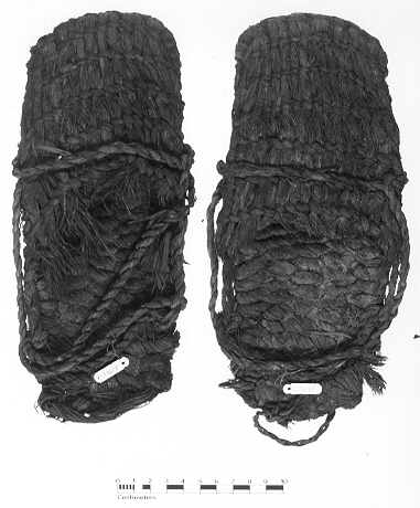 Sagebrush bark sandals from Fort Rock Cave, similar to specimens radiocarbon dated from 10,500-9,300 years old. photo from http://pages.uoregon.edu/connolly/FRsandals.htm