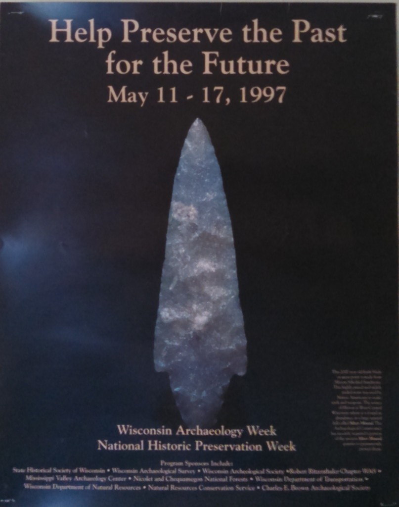 Projectile Point of Hixton Silicified Sandstone illustrating Wisconsin Archaeology Month Poster