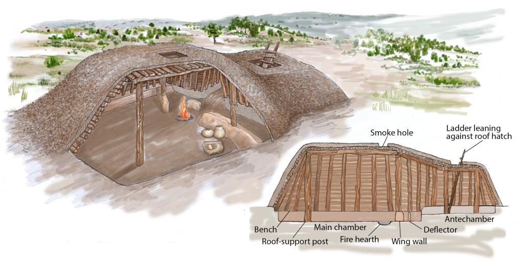 DILLARD SITE: Basketmaker III pithouse cutaway. Courtesy Suzy Meyer/ Crow Canyons