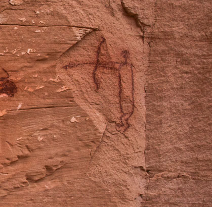 Close-up of Rock Art Figure with Bow and Arrow from Horseshoe Canyon, Canyonlands National Park, Utah. Photo Courtesy David Sucec.