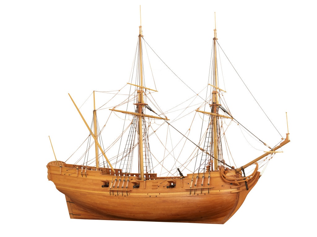 La Belle as a one-twelfth scale model. courtesy of the Bullock Museum.