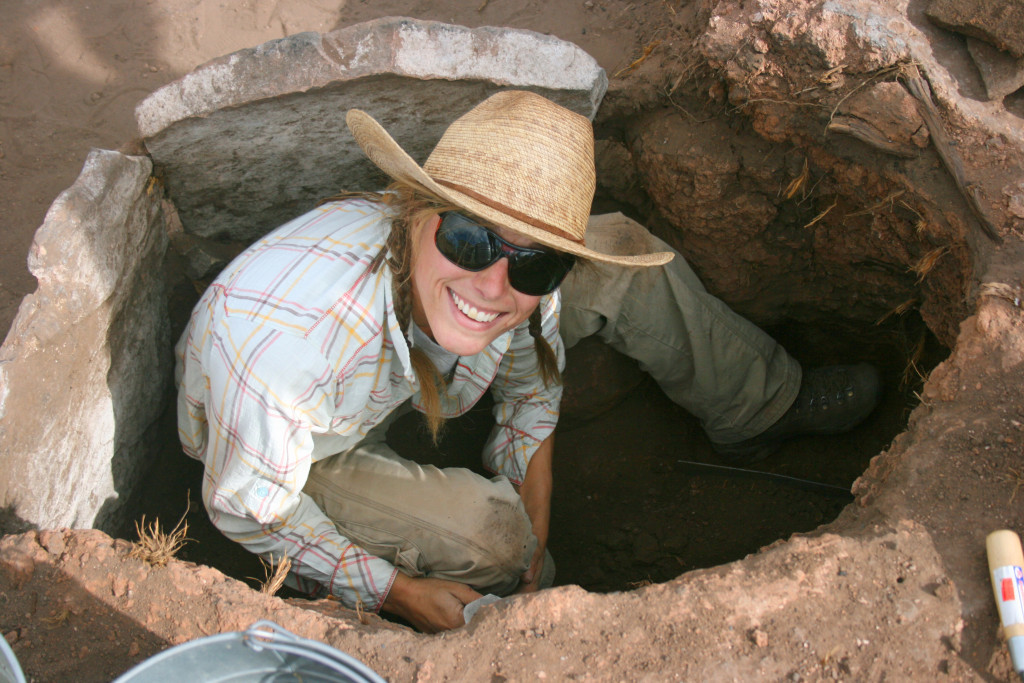 AArchaeologist Caitlin Sommer working in a tight stop while excavating. Courtesy Crow Canyon Archaeological Center.