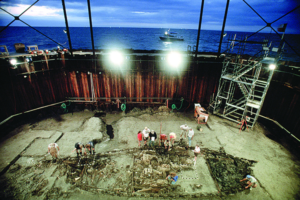 The excavation of La Belle took place inside a steel cofferdam with the seawater removed.