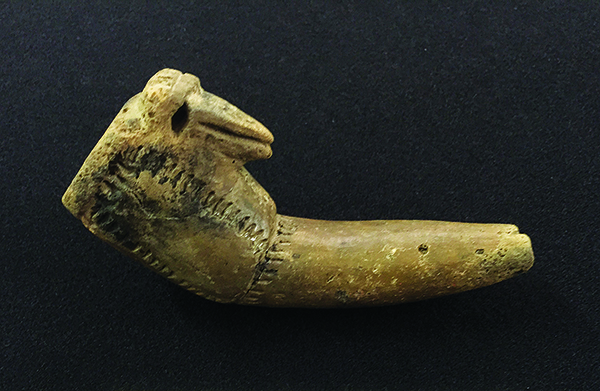All incised bird-effigy pipe. This is one of several effigy pipes found at the site of Queen Esther's Town.
