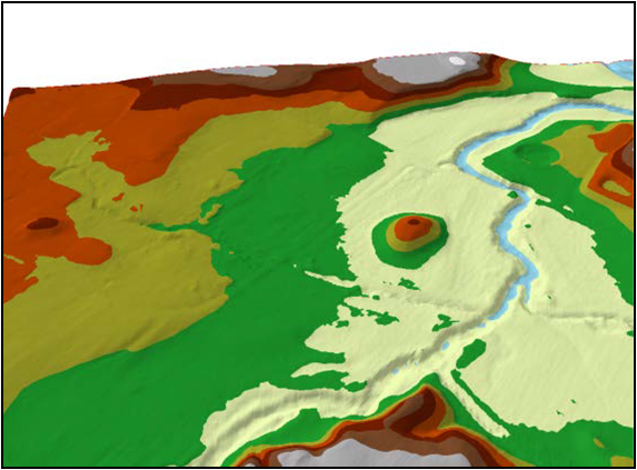 Surface model showing local topography of site. From Stuart Nealis.