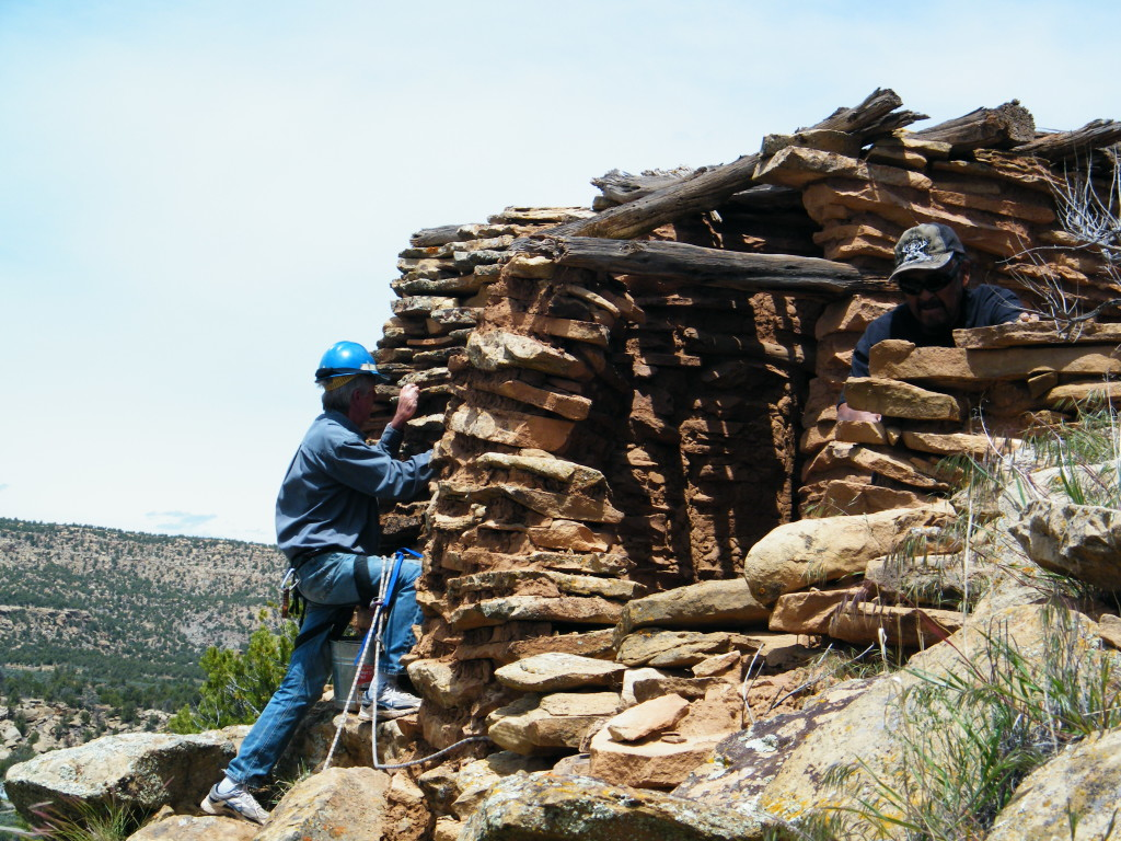 Team member Working on the Garcia Canyon Preservation Project for the Archaeological Conservancy.