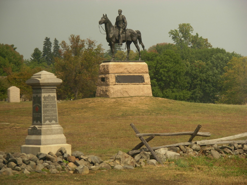 Equestrian Statue of Major-General George Meade, Gettysburg National Military Park. 99th PA Infantry Monument in foreground.