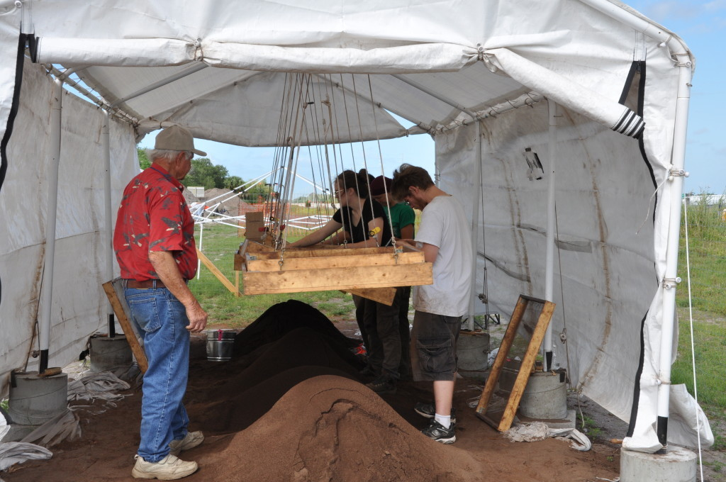 Researchers and volunteers screen excavated dirt.