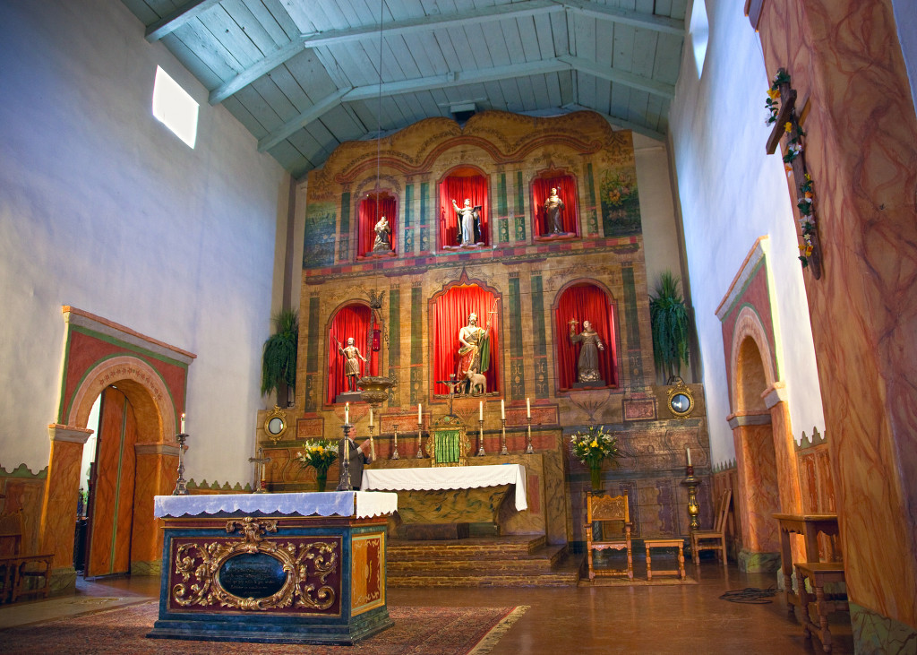 San Juan Bautista's church features this handsome altar screen and sanctuary. Credit: Ruben G. Mendoza