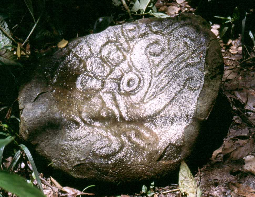 A petroglyph near the site of Las Crucitas, Honduras that Chris Begley believes may represent a feathered serpent. Credit Chris Begley.