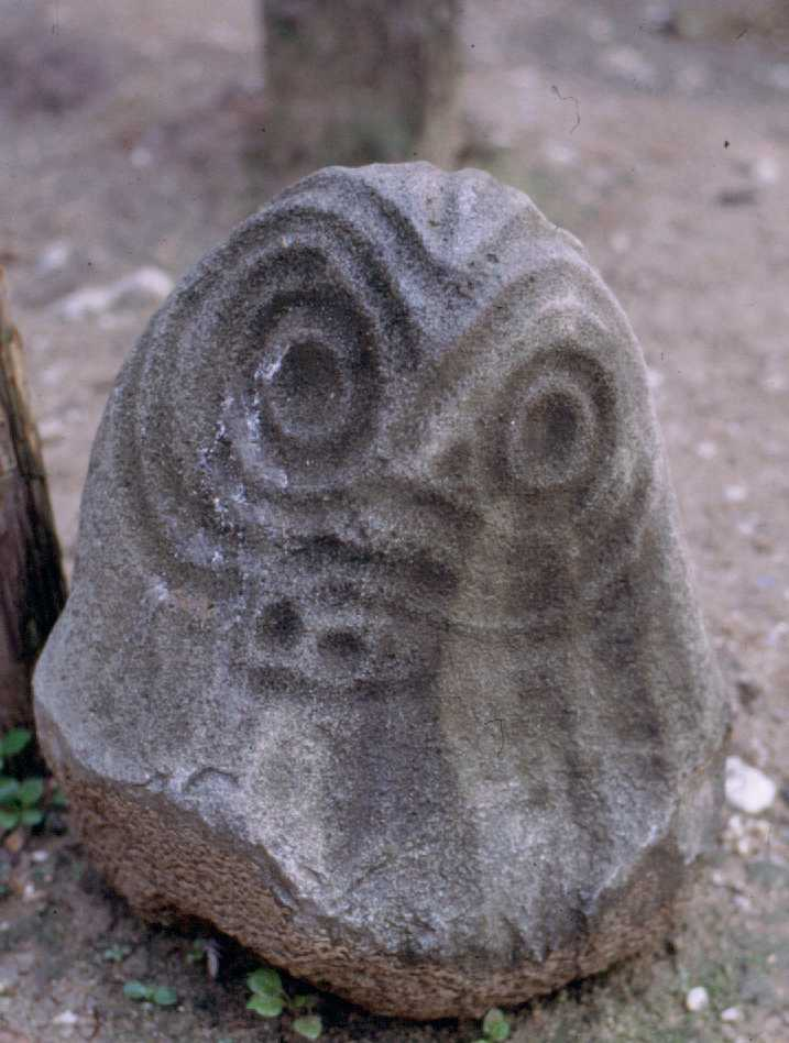 A larger stone sculpture from the site of Limoncito in eastern Honduras. The concentric circles forming the eyes are also found on numerous petroglyphs throughout the region.