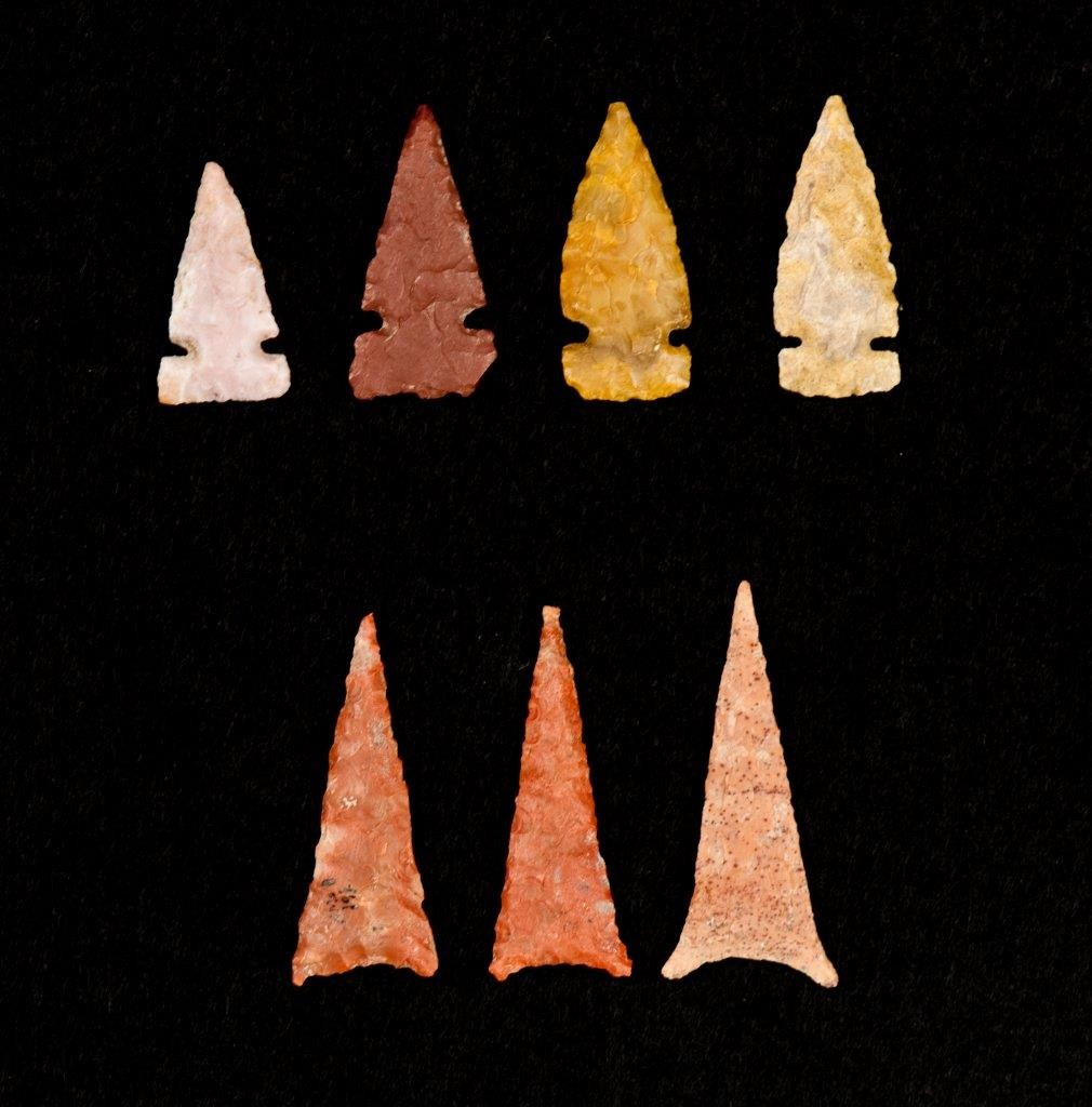 Projectile points found at sites in the VEP's north study area. Credit: Mark Montgomery/courtesy of the Crow Canyon Archaeological Center
