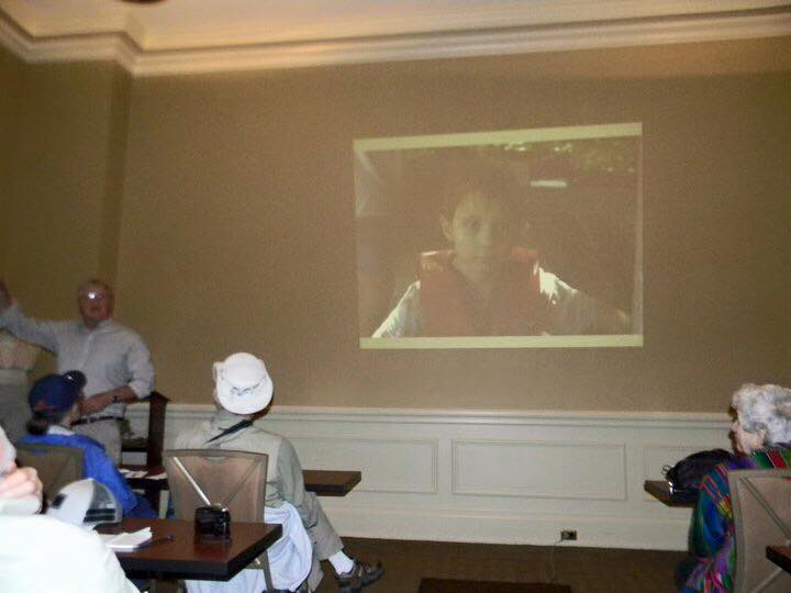 """This is Doc giving his slide show to a Conservancy tour group. The last slide is of Ethan, his grandson. He was explaining """"why we do it."""" or why we work so hard to save the past- for the future."""