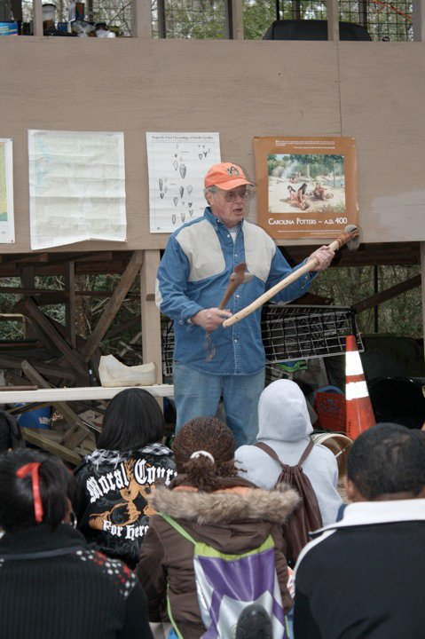 Doc Doing Archaeological Outreach. Photo by Stacye Hathorne.