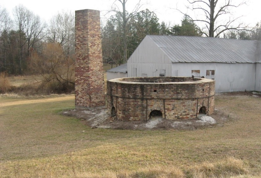 The partially reconstructed kiln. It could hold up to 200,000 pipes during firing.