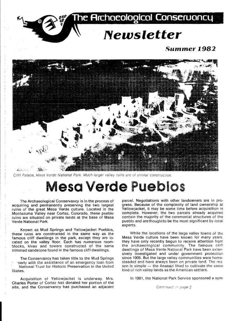 Newsletter 1982 mesa verde 1