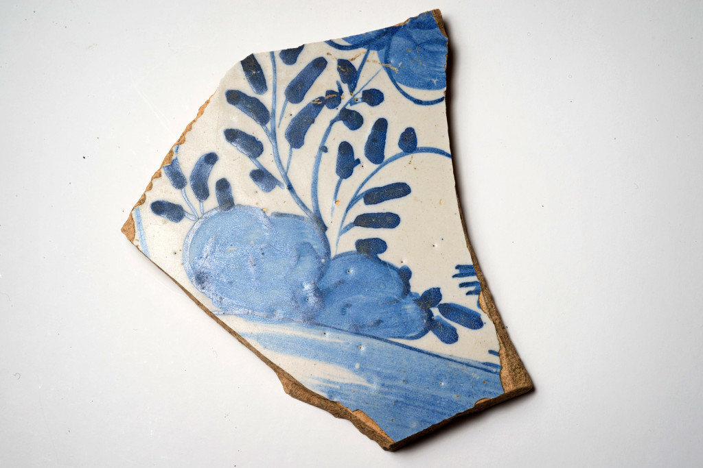 A British ceramic sherd of Delft origin. Credit: Patrick Hall