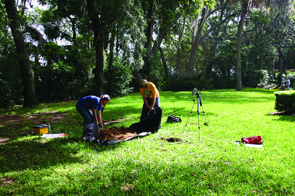 Two University of North Florida students backfill a test unit while searching for evidence of Fort Caroline. Credit Robert Thunen