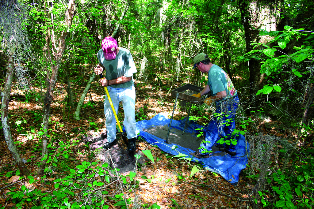 Two researchers excavate in thick brush at the Fort Caroline National Memorial. Credit Robert Thunen