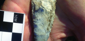 This chert biface tool was found at the site.