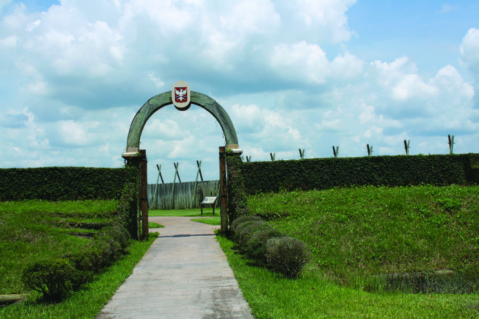 This reconstruction of Fort Caroline is found at Timucuan Ecological & Historic Preserve in Jacksonville. Based on the le Moyne de Morgues/de Bry illustration, it's not considered to be historically accurate. Credit Timucuan Preserve, National Park Service.
