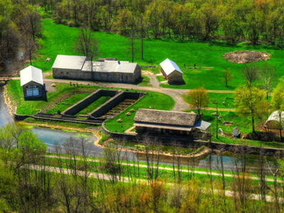 Aerial View of the the Chittenango Landing Canal Boat Museum and Historic Erie Canal Dry Docks Industrial Complex.
