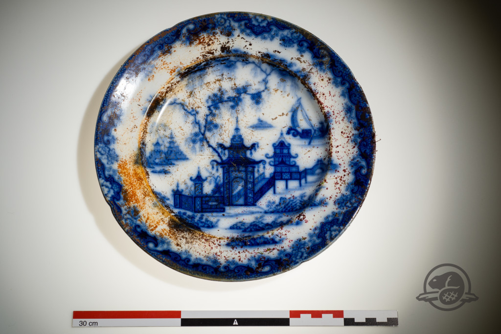 This fine earthenware plate was recovered from the Erebus wreck. Credit Parks Canada