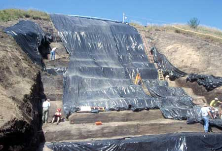 Repair work conducted on a sloping face of Monks Mound in 2007. (Courtesy Washington University in St. Louis)
