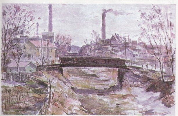 This Painting,done by artist J. Erwin Porter in 1960, portrays the Genesee Valley Canal that began near downtown Rochester. Genesee Valley Canal was part of the enlargement of the original Erie Canal.