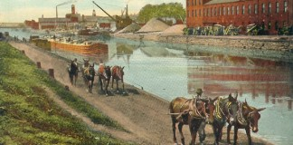 A depiction of the Erie Canal in Buffalo, New York. Mules were used to pull the barges