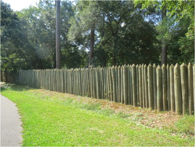 The Charles Towne Landing State Historic Site features a reconstructed palisade wall. Credit: Andrew Agha.