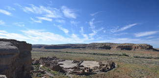 Pueblo Bonito is Chaco Canyon's largest great house. A number of macaws, which are thought to have been imported from Mesoamerica by Chaco's upper class, were found here. Credit: Chaz Evans.