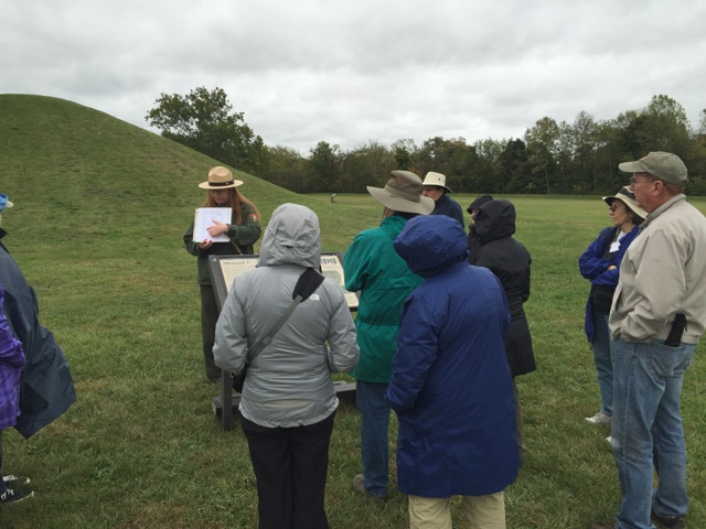 Touring the Mounds Under Cloudy Skies.