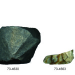 These artifacts were recovered from a pit feature in 1997. Row (left to right): a basalt hammerstone, basalt core, and two chert scrapers. Credit: Loren Davis.