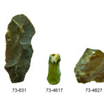 These artifacts were recovered from a pit feature in 1997. Top row (left to right): three chert blades and two flake tools. Credit: Loren Davis.