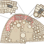 This illustration of Pueblo Bonito shows Room 33, where an elite human burial crypt was found, and rooms 38, 71, and 78, where macaw remains were discovered. Credit: Thomas Harper