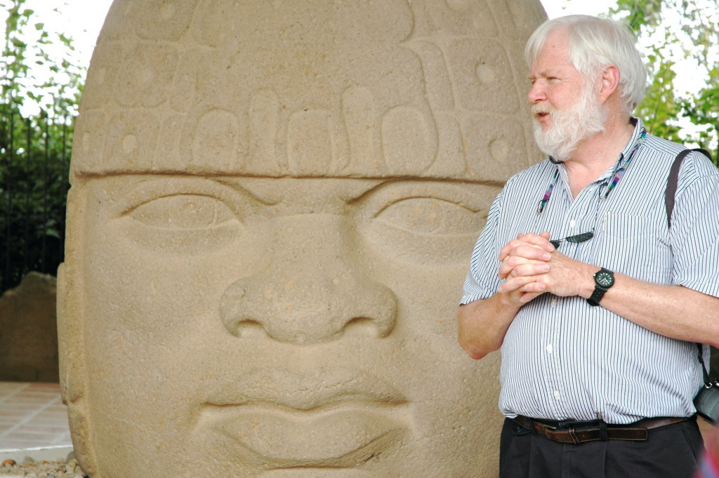 Professor Henderson speaking to an Archaeological Conservancy group at San Lorenzo site of the fmous Olmec Stone heads and earliest Mesoamerican City. Photo Courtesy John Henderson.