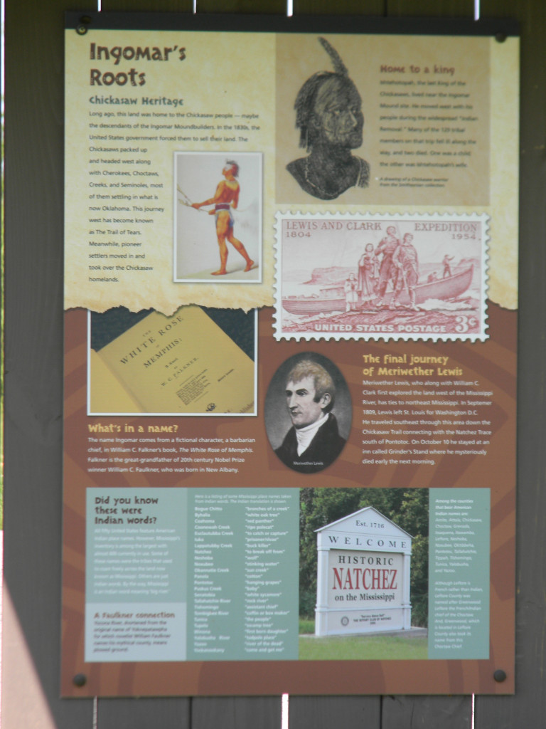 Interpretive Sign at Ingomar Mounds.