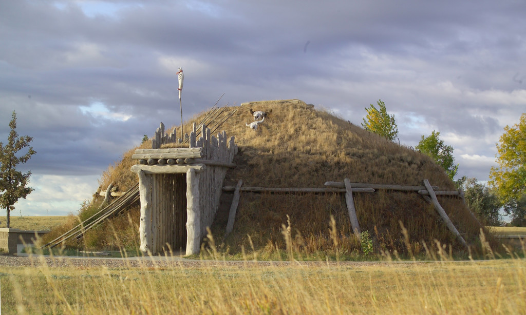 The Mandan and Hidatsa peoples lived in villages consisting of earthlodges. Credit: NPS