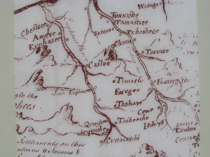 "A map dating to 1725 that shows the location of ""Qunesse,"" or Quanassee, as well as other valley towns."